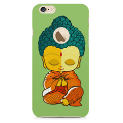 Miniature Buddha Caricature Apple Iphone 6 with round cut hard plastic all side printed back cover.