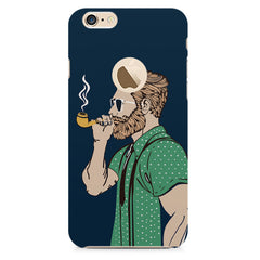 Man smoking cigar Apple Iphone 6 with round cut hard plastic printed back cover