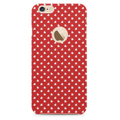 Cute hearts all over the cover design    Apple Iphone 6 with round cut hard plastic printed back cover