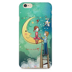 Couple on moon sketch design Apple Iphone 6/6s printed back cover