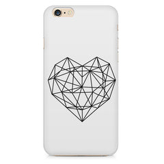 Black & white geometrical heart design Apple Iphone 6/6s printed back cover