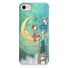Couple on moon sketch design Apple Iphone 7 printed back cover