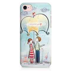 Couple under umbrella sketch design Apple Iphone 7 printed back cover