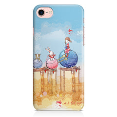 Woollen ball ride sketch design Apple Iphone 7 printed back cover