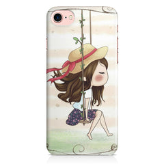 Girl swinging sketch design Apple Iphone 7 printed back cover