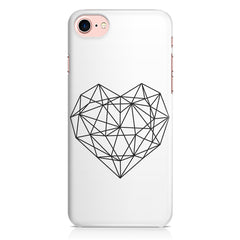 Black & white geometrical heart design Apple Iphone 7 printed back cover
