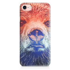 Zoomed Bear Design  Iphone 8 hard plastic printed back cover.