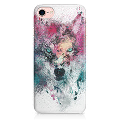 Splashed colours Wolf Design Iphone 8 hard plastic printed back cover.