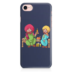 Punjabi sardars with chicken and beer avatar Iphone 8 hard plastic printed back cover.