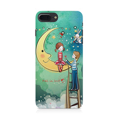 Couple on moon sketch design Apple Iphone 8 plus printed back cover
