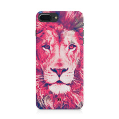 Zoomed pixel look of Lion design Iphone 8 plus hard plastic printed back cover.