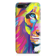 Colourfully Painted Lion design,  Apple Iphone 7 plus with Apple cut  printed back cover