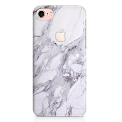 White and grey marble  Iphone 7 with Apple cut hard case printed back cover