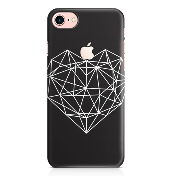 Black & white geometrical heart design Apple Iphone 7 with Apple cut printed back cover