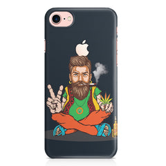 Beard guy smoking sitting design Apple Iphone 7 with Apple cut printed back cover
