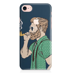 Pipe smoking beard guy design Apple Iphone 7 with Apple cut printed back cover
