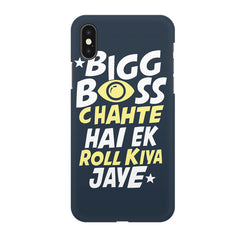 Big boss chahte hai ek roll kiya jaye quote design all side printed hard back cover by Motivate box Apple Iphone XR hard plastic all side printed back cover.