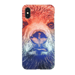 Zoomed Bear Design Apple Iphone XR hard plastic all side printed back cover.