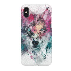 Splashed colours Wolf Design Iphone X hard plastic printed back cover.
