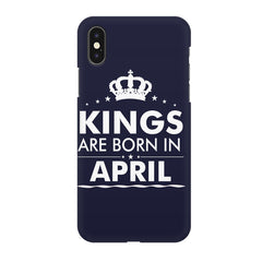 Kings are born in April design Iphone X all side printed hard back cover by Motivate box Iphone X hard plastic printed back cover.