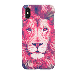 Zoomed pixel look of Lion design Iphone X hard plastic printed back cover.