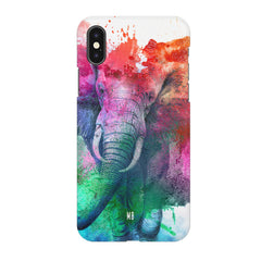 colourful portrait of Elephant Iphone X hard plastic printed back cover.