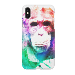 Colourful Monkey portrait Apple Iphone XR hard plastic all side printed back cover.