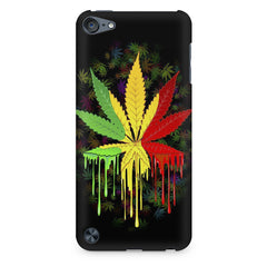 Marihuana colour contrasting pattern design Apple Ipod Touch 6 printed back cover