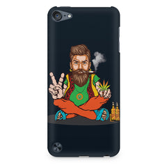 Beard guy smoking sitting design Apple Ipod Touch 6 printed back cover