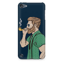 Pipe smoking beard guy design Apple Ipod Touch 6 printed back cover