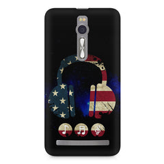 America tunes Blue sprayed  Asus Zenfone 2 ( ZE551 ML ) printed back cover