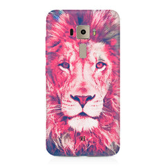 Zoomed pixel look of Lion design Asus Zenfone 3 hard plastic printed back cover