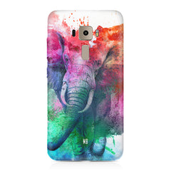 colourful portrait of Elephant Asus Zenfone 3 hard plastic printed back cover