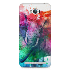 colourful portrait of Elephant Asus Zenfone Max hard plastic printed back cover