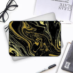 Golden black marble design Both side printed Laptop Sleeves
