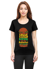 Hungry funny design  woman round neck tshirts