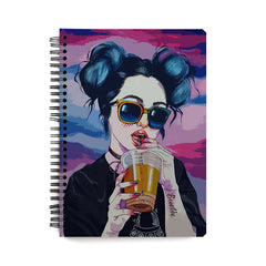 Girl drinking juice sketch design wiro notebook - A5 Size