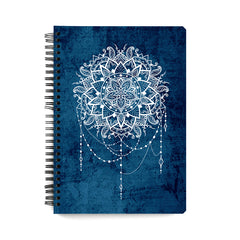 Ethnic design on blue pattern wiro notebook - A5 Size
