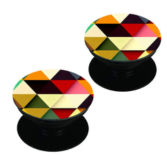 Awesome colourful triangles abstract design Set of 2 Pop holders for your phone