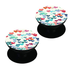 Heart printed romantic design Set of 2 Pop holders for your phone