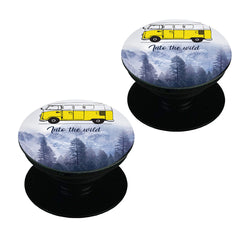 Into the wild for travel Wanderlust people  Set of 2 Pop holders for your phone