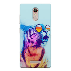 A funny, colourful yet cool portrait of a tiger wearing reflectors. Gionee s6s hard plastic printed back cover