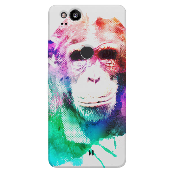Colourful Monkey portrait Google Pixel 2 hard plastic printed back cover