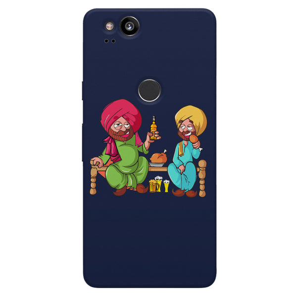 Punjabi sardars with chicken and beer avatar Google Pixel 2 hard plastic printed back cover