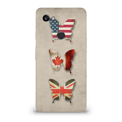 Butterfly in country flag colors Google Pixel XL 3 hard plastic printed back cover