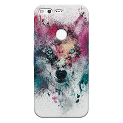 Splashed colours Wolf Design Google Pixel hard plastic printed back cover