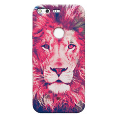 Zoomed pixel look of Lion design Google Pixel hard plastic printed back cover