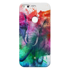 colourful portrait of Elephant Google Pixel hard plastic printed back cover