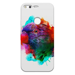 Colourful parrot design Google Pixel hard plastic printed back cover