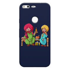 Punjabi sardars with chicken and beer avatar Google Pixel hard plastic printed back cover